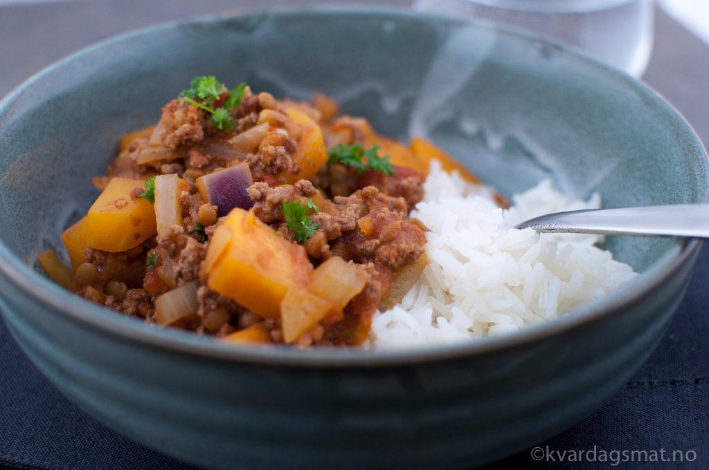 oppskrift chili con carne med søtpotet
