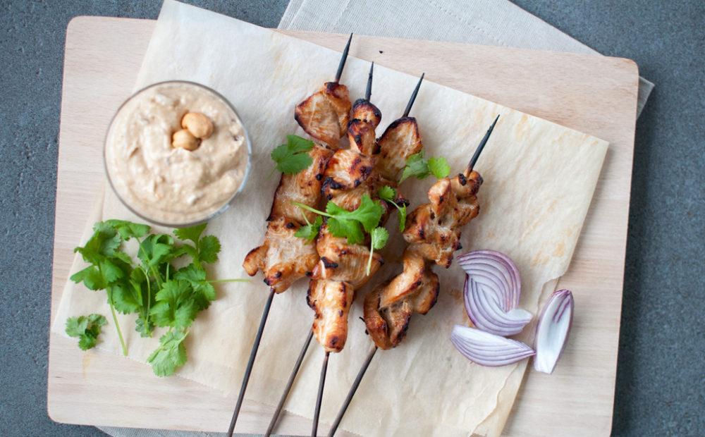 kylling satay og peanøttsaus