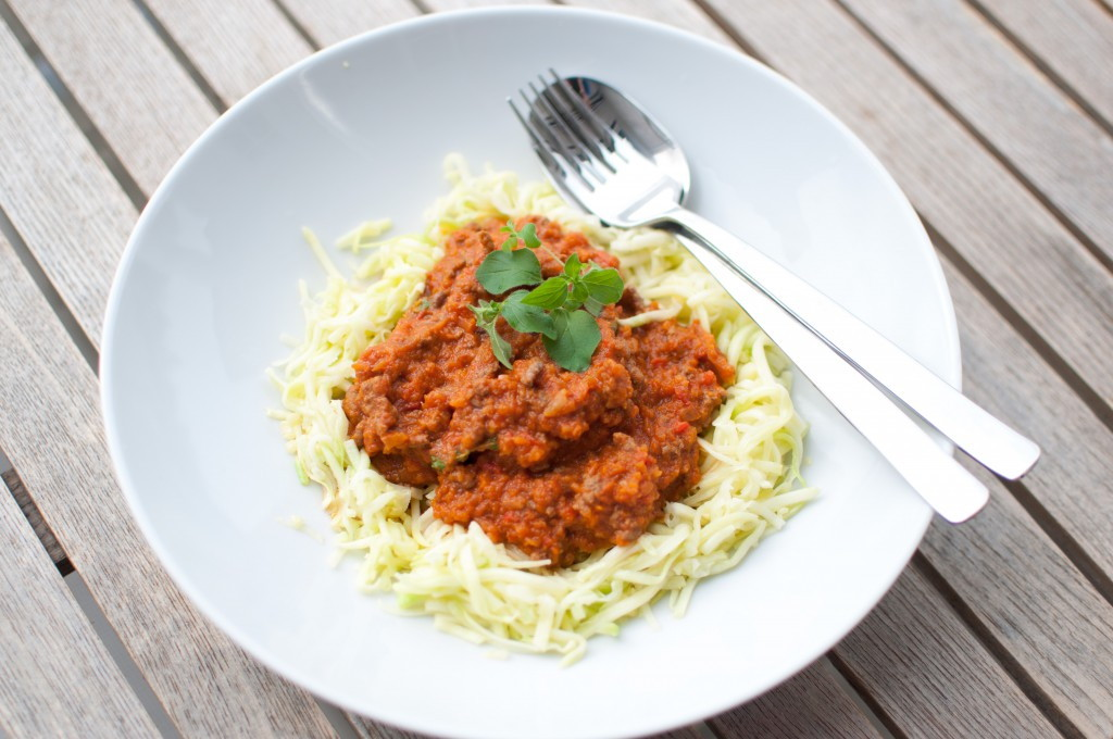 """Squagetti"" med tomatsaus"