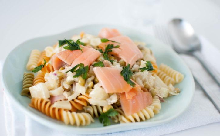 krema pasta med røykalaks og fennikel