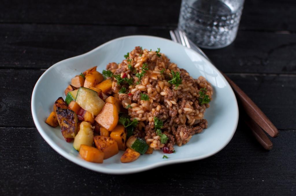 risotto med kjøttdeig og tomat