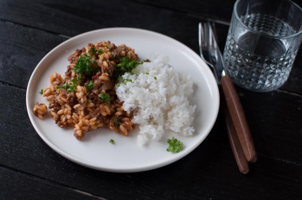 kjøttdeig og tomat risotto