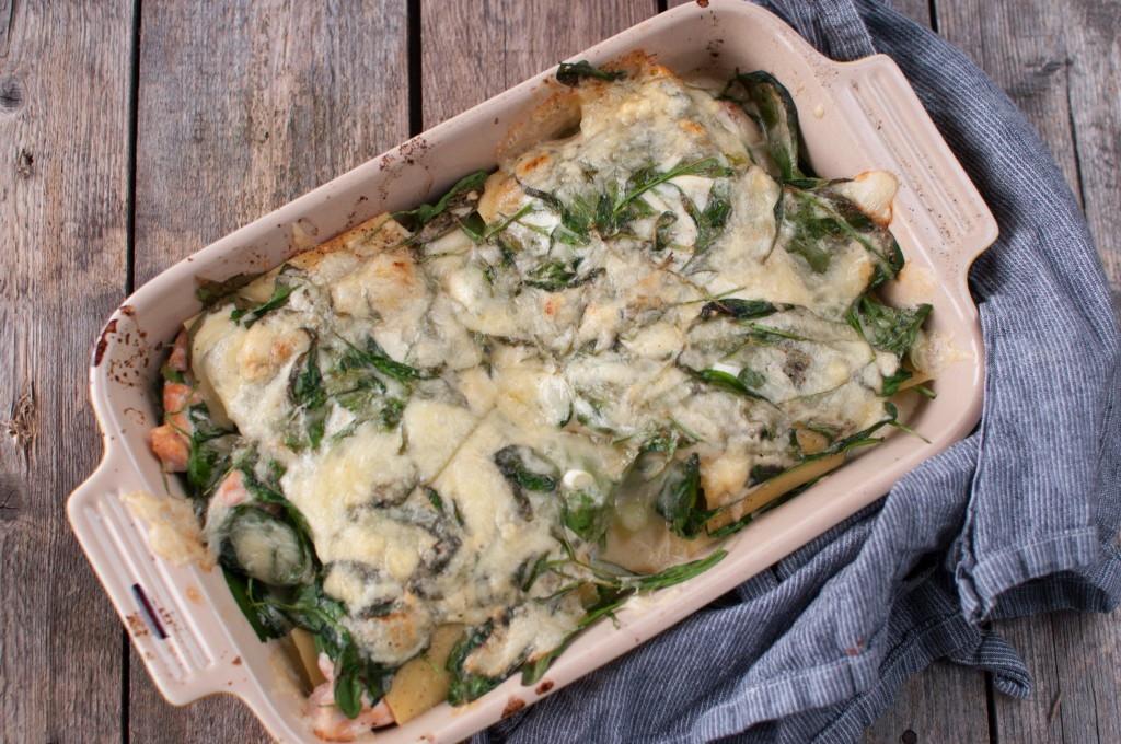 spinat og laks lasagne