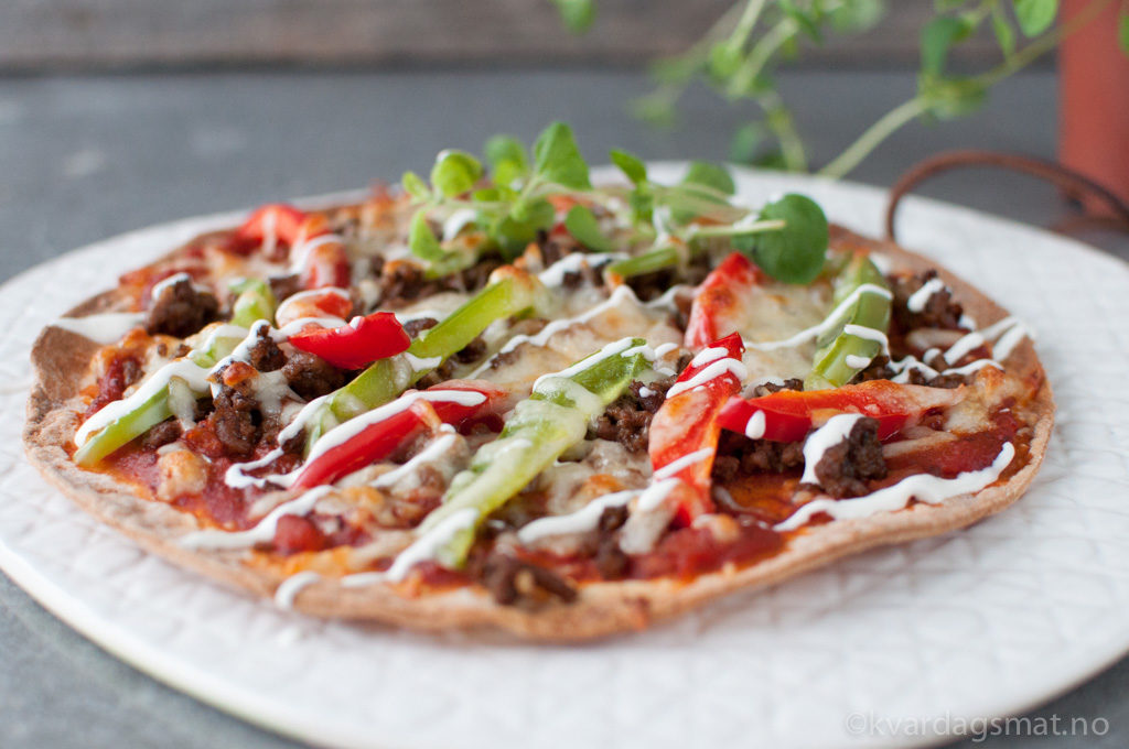 oppskrift tortilla pizza