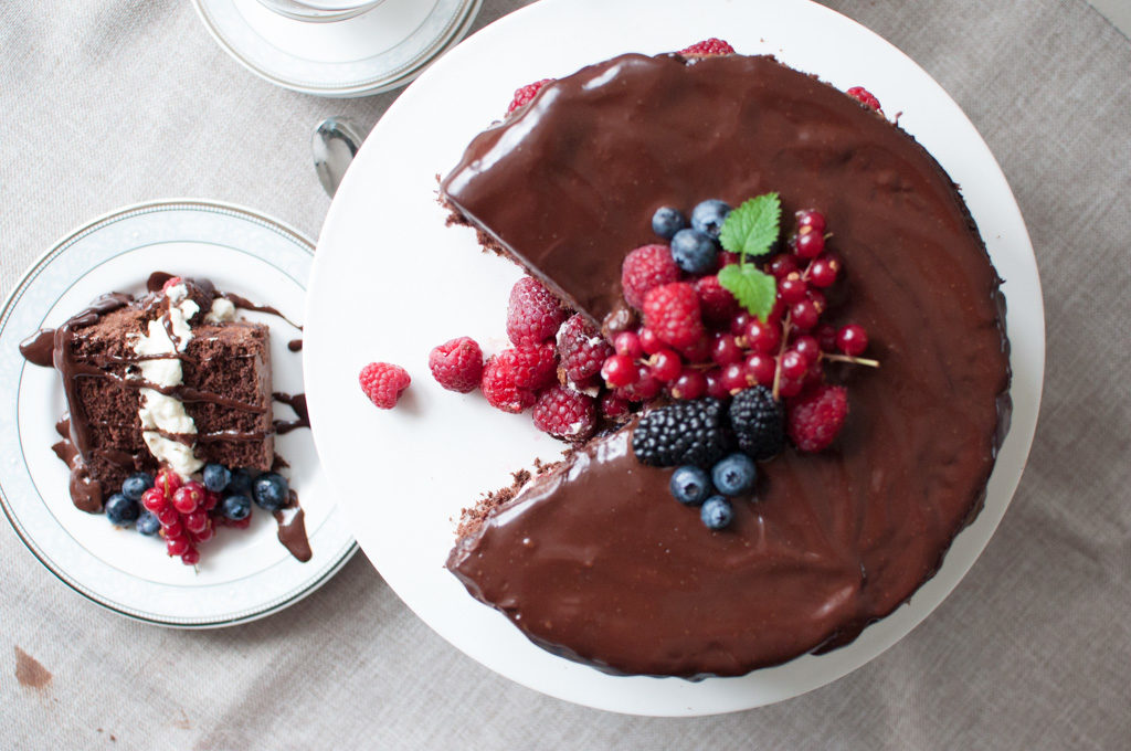 sjokoladekake bringebær