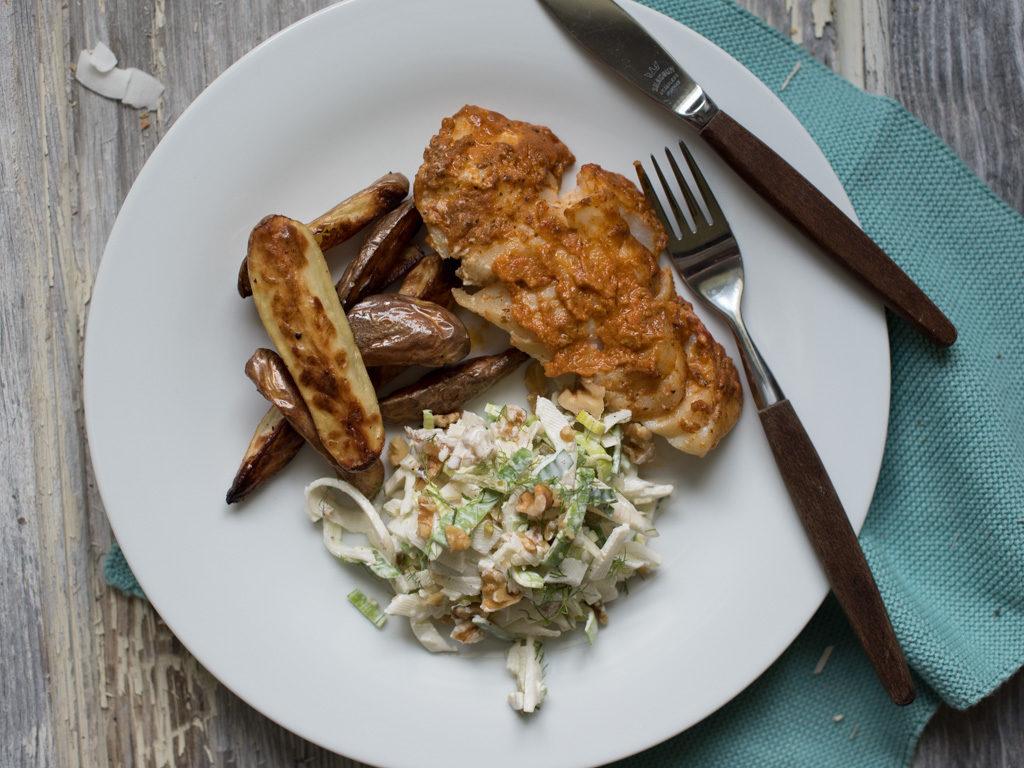 grilla torsk, ovssteikte poteter og fenikkelsalat