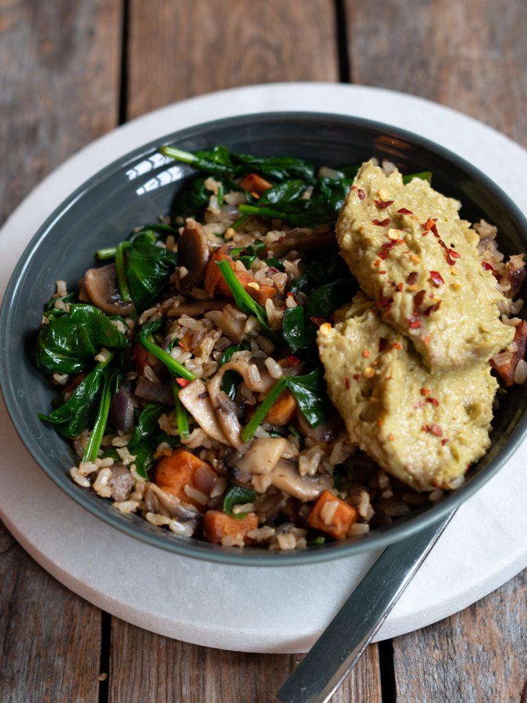 steikt ris med grønsaker